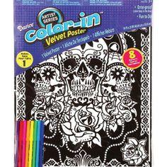 Velvet colouring cards 2 x 10 Fibre art pens 8 pictures Pack B2,