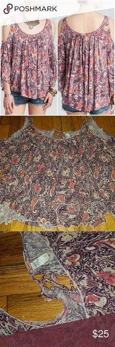 Free People Hummingbird Chloe Top Super cute Free People paisley print, cold-shoulder, drapey top with keyhole tie closing in the back. Thin & breezy. Lightly worn with no stains or tears but it is a delicate fabric. Free People Tops