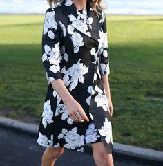 Mary Orton of Memorandum looks effortlessly elegant in a St. John Knits Macro Floral Jacquard Knit Dress and matching Macro Floral Duchesse Coat.