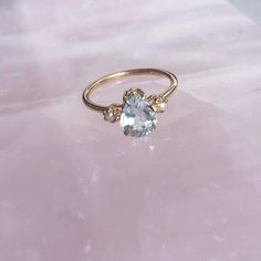Solid 10K Yellow Gold Pear Shaped Aquamarine Ring by DeesseJewelry