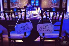 head table, wedding decorations, Mr and Mrs signs, reception tables