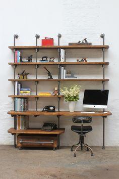 Nita Chestnut Stained Reclaimed Scaffolding Board and Dark Diy Pipe Shelves, Desk Shelves, Pipe Shelving, Galvanized Pipe Shelves, Shelving Ideas, Bookshelves, Industrial Pipe Desk, Industrial Shelving, Pipe Furniture