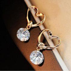 Stud Earing Girl Brinco Pendientes Zircon Heart Stud Earrings For Women Wedding Jewelry