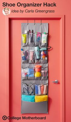"Mom pinner, Carla Greengrass is all about maximizing space in clever ways. ""Using an over-the-door shoe organizer to store hair, beauty and body products you're always grabbing for is a great way to keep your student's dorm tidy. Clear pockets are ideal for storing and locating those easy-to-misplace items."" This pin was made by Moms, for Moms to make sending any student off to college easy, thanks to the On to College Motherboard."