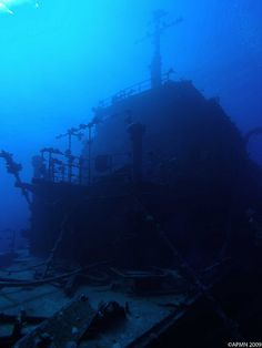"""Russian wreck """"The Russian Wreck"""" at Zabargad in the Southern Egyptian Red Sea. There is not much information available on this wreck but it is believed to be a Russian electronic surveillance vessel that sank sometime before 1982."""
