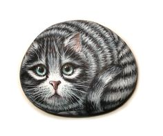 Hand Painted Stone Cat by Lefteris Kanetis on Etsy