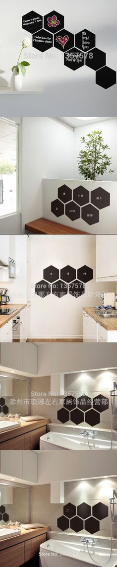 Free shipping Hexagon Blackboard Removable Vinyl Wall Sticker Chalkboard Decal home decor ChalkBoard For kids rooms ,office PVC $2.99