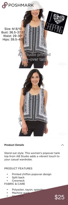 "AB Studios tank in black and white print Printed chiffon design, split back, crew neck, polyester, rayon, spandex, machine wash, imported. Size: 8/10 Bust: 36.5-37.5"" Waist: 29-30"" Hips: 39.5-4"" Never removed from original packaging AB Studio Tops Tank Tops"
