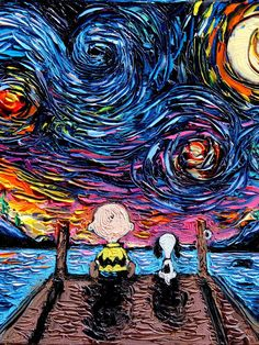 Van Gogh's Starry Night Featuring Characters and Scenes from Pop Culture