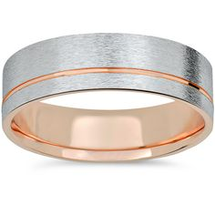 Mens ring is made of solid 14k white and rose gold. The ring measures 6mm wide and solid 14k. Brushed white gold finished, polished rose gold. Jewelry Type: Fine Gender: Male Band Width: 5-6 mm Ring S