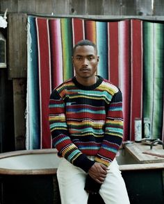 NOTE: I know just the rusted/striped door in North Industrial that would be awesome for a shoot/look like this - that sweater is crazy great too and the white jeans to boot Pretty People, Beautiful People, Steve Lacy, Hip Hop And R&b, My Guy, Black Is Beautiful, Missoni, Black Men, Black Boys