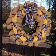 Blue and Yellow Chevron Burlap Wreath 20-22 inch for front door or accent - outdoor or indoor Michigan, ETSU, Team on Etsy, $35.00