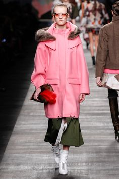 Fantastic color and proportions!  If you view the details on style.com, you can see the raw edges of the garment.  #Fendi #FW14