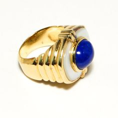 Stunning Vintage Lapis Lazuli and Mother of Pearl Ring 18kt over Sterling Silver Artist Signed Egyptian Revival Style