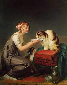 Le Déjeuner du Chat - The Cat's Lunch  | oil painting | Marguerite Gérard