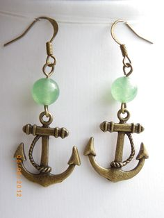 Anchor Antique style bronze tone charm Jade beads earrings $8.99