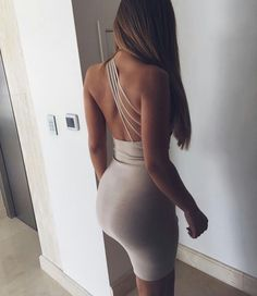 Grey bodycon dress with unique crossbody back