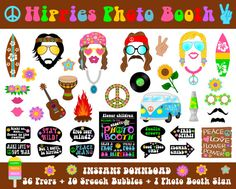 Hippies Photo Booth Props–47 Pieces (36 props,10 speech bubbles,1 photo booth sign)-Hippie, 70's Party Printable Props-Instant Download