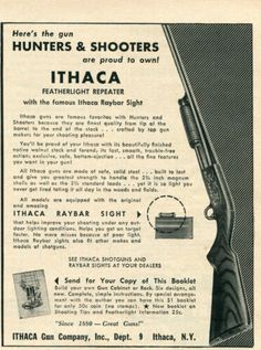 1957 small Print Ad of Ithaca Featherlight Repeater Shotgun Proud To Own Double Barrel, Wall Bar, Metal Tins, Print Ads, Shotgun, Wall Signs, Vintage Advertisements, Advertising, Ebay