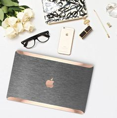 Platinum Edition Brushed Steel with Rose Gold/Copper Edge Detailing Hybrid Hard Case for Apple Macbook Air & Mac Pro 13 Retina, Macbook 12