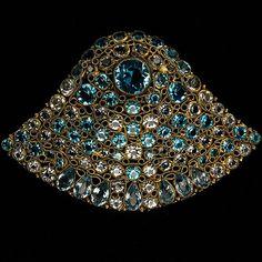 Hobe Aquamarine & Blue Topaz Jewels of Legendary Splendor Bell-shaped Pin