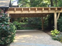 Cypress timber frame carport, Georgia - can double as covered outdoor living space for parties!