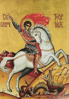 Theodore Tyro is remembered on the First Friday of the Great Fast. Byzantine Icons, Byzantine Art, Hl Georg, Monastery Icons, Writing Icon, Fighting Demons, Saint George And The Dragon, Vampire Stories, Religious Icons