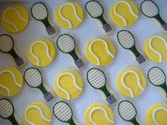tennis cookies!  For our next tennis match : @Cristen & Bryony!!  How fun are these.