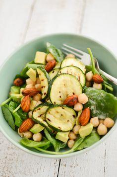 spinach. zucchini. almonds. avocado. garbanzo beans. delicious.
