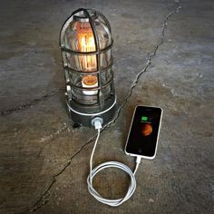 Industrial Touch Lamp with USB Port by MillerLights