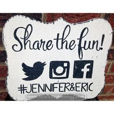 Share the Fun on Social Media Wedding Sign by SparkledWhimsy, $25.00