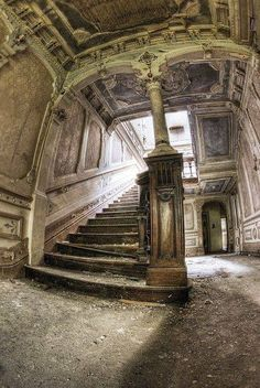 The grand staircase, Abandoned manor house, USA
