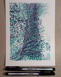 Lidia Barragán. #sketch #tree #nature #sketchbook #treedrawing #green #violet #dibujo #árbol #cuaderno #fineline #sharpie