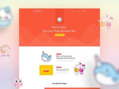"""Sticker Buzz is a experimental project based on """"Landing Free UIKit"""" for any kind of E-Commerce website . We planned to make it little bit different then the other sticker market on web. We saw most of the E-Commerce websites are backdated so that we tr… Typography Inspiration, Web Design Inspiration, Daily Inspiration, E Commerce, Traditional Frames, Portfolio Site, Ui Elements, Hosting Company, Cool Stickers"""