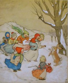 christmas winter solstice ida bohatta vintage prints - the children meet a hare in the snow