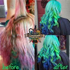 Before and after. Green and blue hair✂ #manicpanicc #olaplex  #colormelt #btcpics #btconeshot_transformation #beforeandafter #modernsalon #beautylaunchpad #hotonbeauty #angelofcolour #hairbykaseyoh