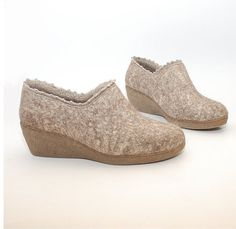 Felted wool wedge clogs linen  organic wool shoes by WoolenClogs, $130.00