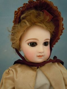 "French Portrait Jumeau 14"" Pressed Bisque w/ Antique Clothes 8 Ball Jtd. Body"