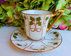 Vintage Limoges Porcelain Demitasse Cup & Saucer ~ Gold | by Donna's Collectables