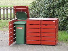 3er Mülltonnenbox Holz, Deckend Geölt Nordisch Rot, für 120 L + 240 L Mülltonnen