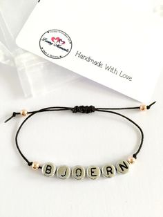 Personalized Handmade Bracelet - Black Satin Cord + Sterling Silver alphabet design + Rose gold beads - Loving Memento