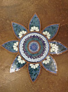 Mosaic sun flower at Lisa B's Art studio