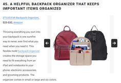 Backpack Organization, Amazon Gifts, Storage Spaces, Flexibility, Backpacks, Bags, Handbags, Back Walkover, Backpack