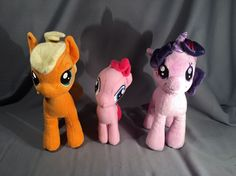 My Little Pony Plush- Apple Jack, Pinkie Pie, Twilight Sparkle