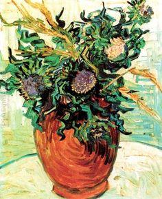 Vincent van Gogh Still Life Vase with Thistles Auvers-sur-Oise June 1890 Artist Van Gogh, Van Gogh Art, Art Van, Vincent Van Gogh, Monet, Flores Van Gogh, Desenhos Van Gogh, Van Gogh Flowers, Van Gogh Paintings