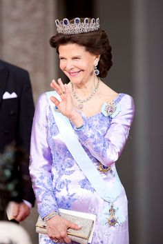 Queen Silvia of Sweden, leaves The Royal Chapel, at The Royal Palace in Stockholm after The Wedding of Prince Carl Philip of Sweden and Sofia Hellqvist on June 13, 2015 in Stockholm, Sweden.