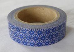 papierowa taśma dekoracyjna - w kwiatki niebieskie
