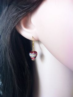 Red murano glass heart earrings by Bleuberie on Etsy, $10.00