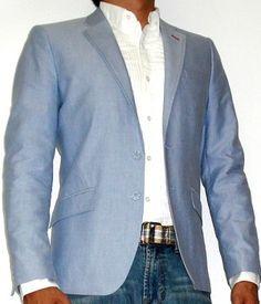 White Dress Shirt Light Blue Blazer Jeans And Brown