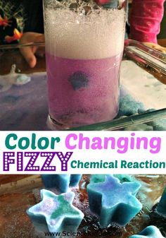 Kids can't resist this amazing color changing chemical reaction. It fizzes, it changes color as if by magic, and it works over and over again. This experiment is completely nontoxic and made with common kitchen supplies. It is hands down one of our favorite kitchen science experiments to date.  After we completed our color changing